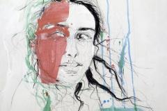 Helena, 80x80, mixed media on canvas, 2019